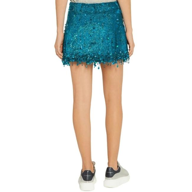 Ashish Turquoise Sequined Silk Georgette Beaded Skirt Size 6 (S, 28) Ashish Turquoise Sequined Silk Georgette Beaded Skirt Size 6 (S, 28) Image 3