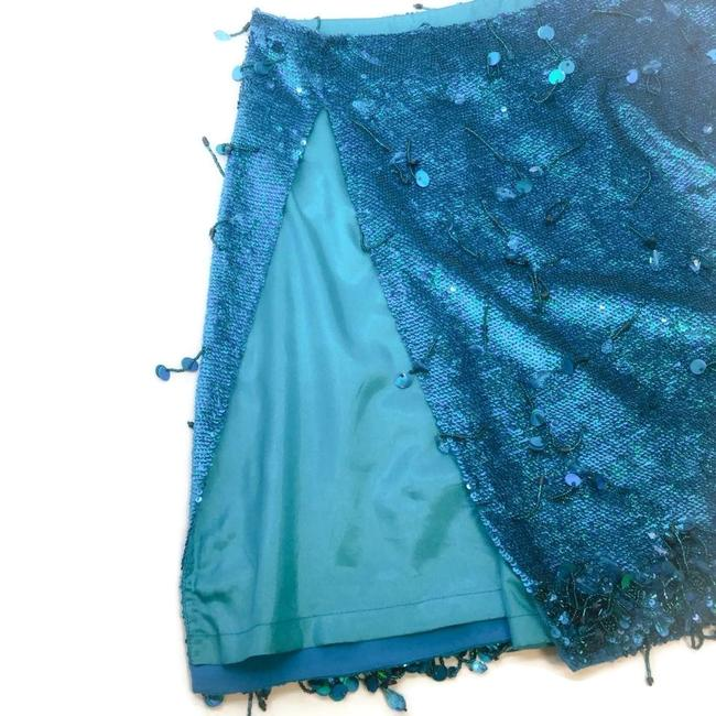 Ashish Turquoise Sequined Silk Georgette Beaded Skirt Size 6 (S, 28) Ashish Turquoise Sequined Silk Georgette Beaded Skirt Size 6 (S, 28) Image 5