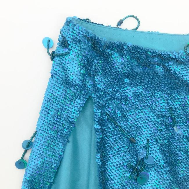 Ashish Turquoise Sequined Silk Georgette Beaded Skirt Size 6 (S, 28) Ashish Turquoise Sequined Silk Georgette Beaded Skirt Size 6 (S, 28) Image 6
