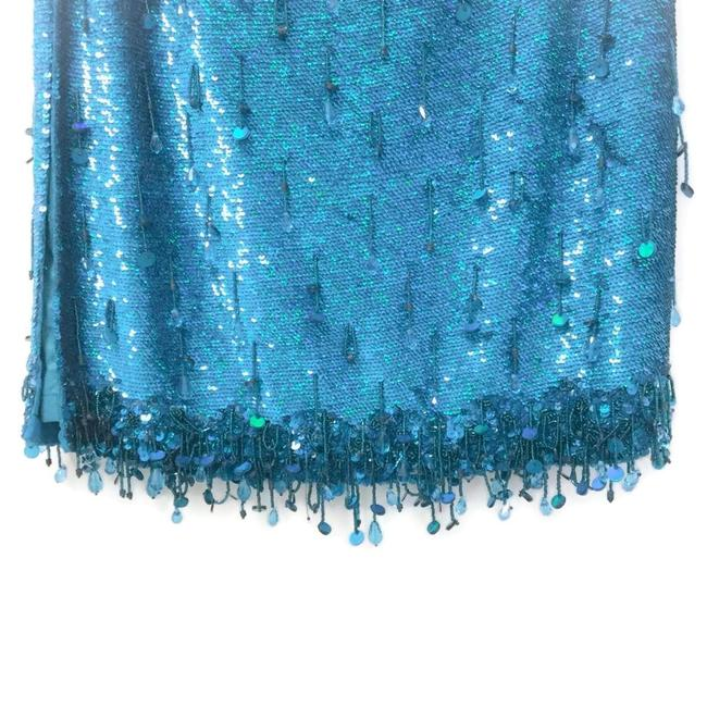 Ashish Turquoise Sequined Silk Georgette Beaded Skirt Size 6 (S, 28) Ashish Turquoise Sequined Silk Georgette Beaded Skirt Size 6 (S, 28) Image 7