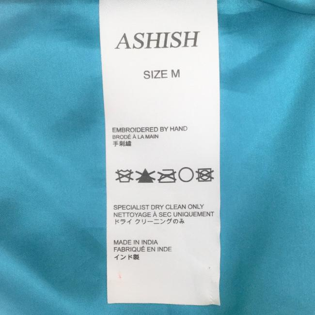 Ashish Turquoise Sequined Silk Georgette Beaded Skirt Size 6 (S, 28) Ashish Turquoise Sequined Silk Georgette Beaded Skirt Size 6 (S, 28) Image 10