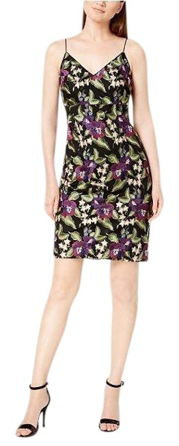 Item - Black Green Purple Embroidered Mid-length Cocktail Dress Size 10 (M)