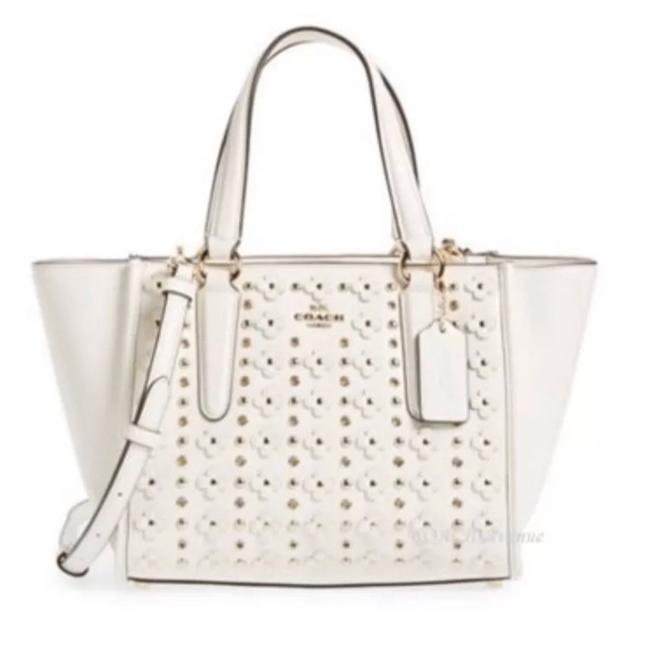 Coach Carryall Satchel In Floral Rivets W hite Leather Tote Coach Carryall Satchel In Floral Rivets W hite Leather Tote Image 1