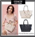 Coach Carryall Satchel In Floral Rivets W hite Leather Tote Coach Carryall Satchel In Floral Rivets W hite Leather Tote Image 5