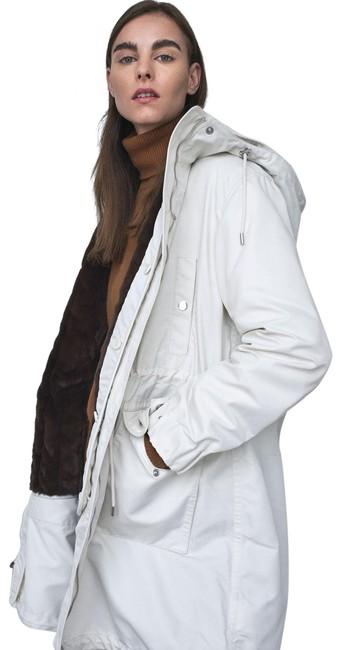 Item - White Textured Winter Parka Coat Size 4 (S)