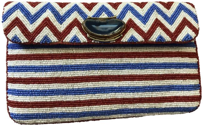 Item - Beaded Red White Blue Beads & Stone Clutch