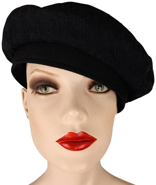Item - Black French Cap with H Logo All Over Fabric Size 57 Cm Hat