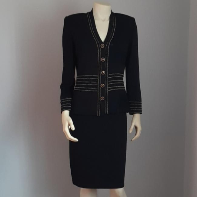St. John Black Jacket and Dress Skirt Suit Size 4 (S) St. John Black Jacket and Dress Skirt Suit Size 4 (S) Image 1