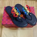 Tory Burch Miller Rainbow Thong Leather navy Sandals