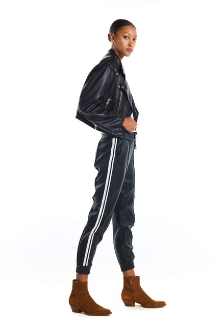 "Item - Black Striped ""Lambskin Leather"" Joggers Track Pants Size 4 (S, 27)"