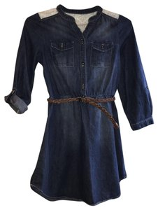 My Michelle short dress Blue Denim and Cream Lace Girls Size 12 on Tradesy