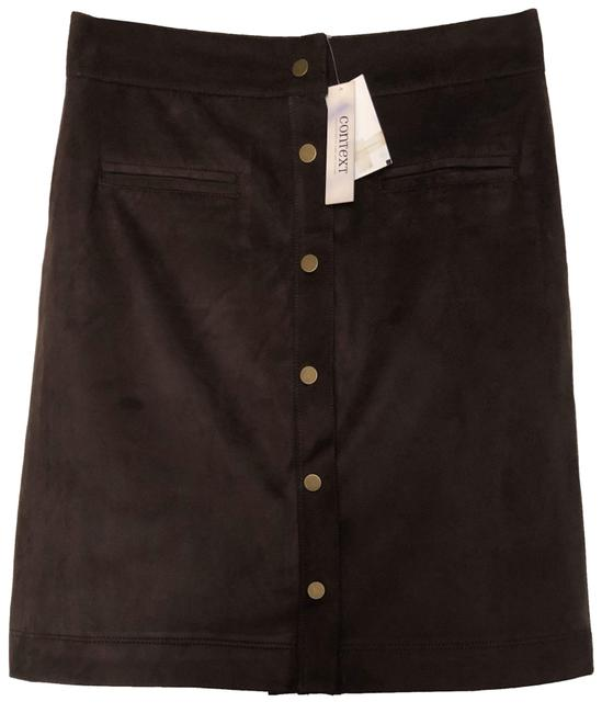 Item - Brown Faux Suede Tuck Skirt Size 6 (S, 28)