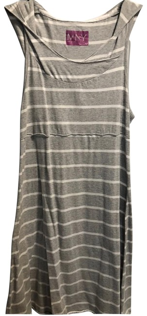 Item - Gray and White Hoodie Mid-length Short Casual Dress Size 8 (M)