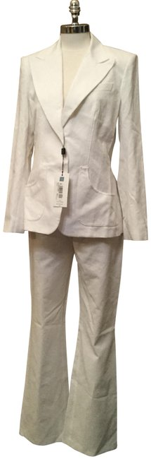 Item - White Dolce & Gabbana Giacca Textured Vintage Pant Suit Size 8 (M)