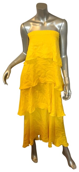 Item - Yellow L Strapless Tiered Midi Long Casual Maxi Dress Size 4 (S)