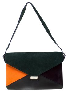 Céline Suede Leather Diamond Multicolor Clutch