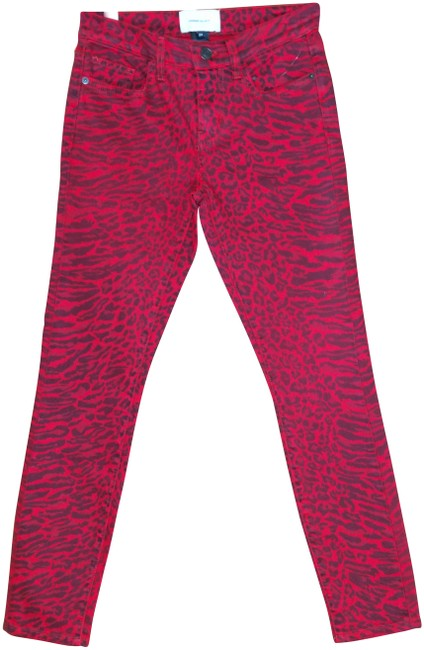 Item - Red The Stiletto In Warped Species Leopard Animal Print Skinny Jeans Size 24 (0, XS)