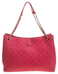 Tory Burch Quilted Leather Marion Chain Tote in Pink