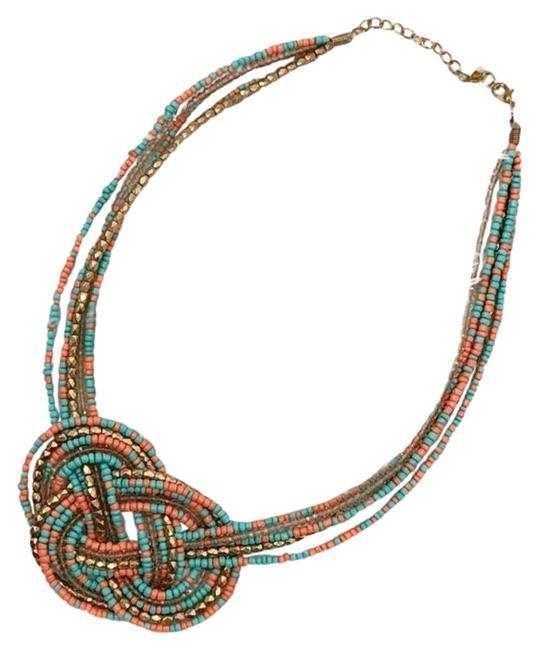 Item - Turquoise Coral Gold Celtic Knot Beaded Statement Necklace