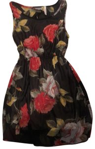 Manito short dress multi color rose printed fabric black red yellow green color on Tradesy