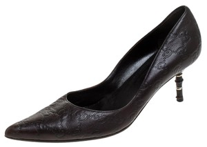 Gucci Guccissima Leather Kristen Bamboo Heel Pointed Brown Pumps