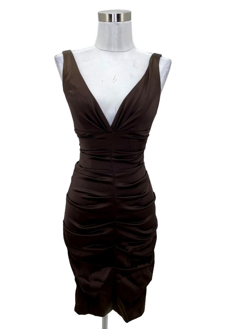 Item - Brown XS N318 Solid Satin V-neck Bodycon Short Formal Dress Size 2 (XS)
