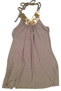Charlotte Russe Silver Gold Gray Long Top Grey