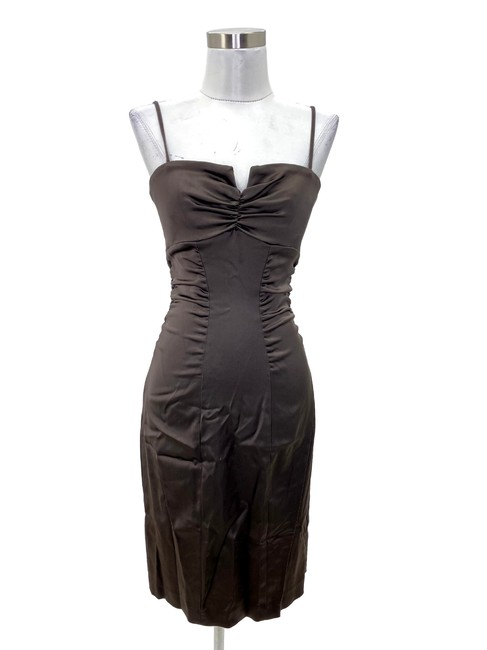 Item - Brown N1185 Designer Small Solid Satin Bodycon Mid-length Formal Dress Size 4 (S)