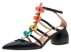Anya Hindmarch Leather Pointed Toe Blue Sandals