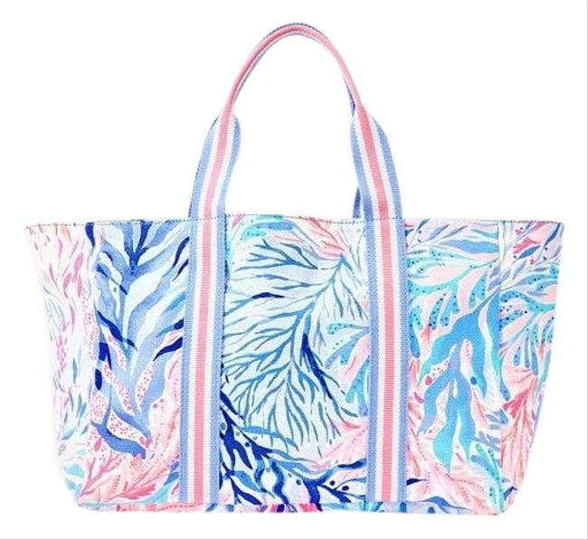 Item - 001362- Lagoon Blue/White/Pink Canvas Tote