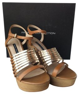 French Connection Tan/Gold Platforms