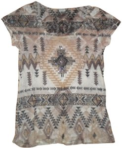 Charming Charlie Aztec Pattern Sleeve Studded T Shirt Multicolor