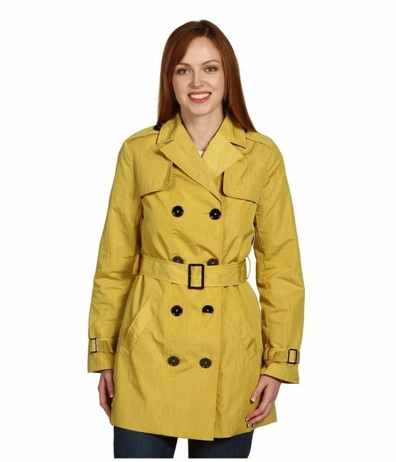 Item - Yellow Double Breasted Belted Classic Lined Coat Size 8 (M)
