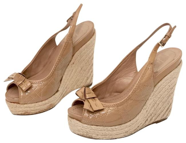 Item - Beige Christian Cannage Quilted Leather Espadrille Sandals Wedges Size EU 36 (Approx. US 6) Regular (M, B)