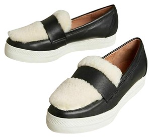 ALL BLACK Shearling Loafer Leather Anthropologie Sheep Black Flats