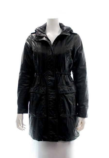 Item - Black For Barneys Hooded Pleather Winter Coat Small Jacket Size 4 (S)