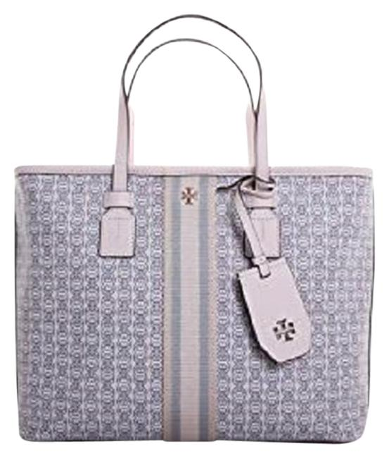 Item - Gemini Link Canvas In New Ivory Grey Leather Tote