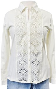 Anne Fontaine Lace Cotton Embroidered Top Ivory