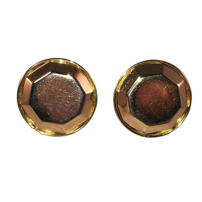 Item - Gold Yves Large Round Faceted Earrings