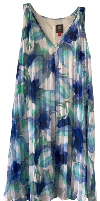 Item - Blue/Green/White Womens Floral Print Sheath Pleated Lined Mid-length Short Casual Dress Size 4 (S)