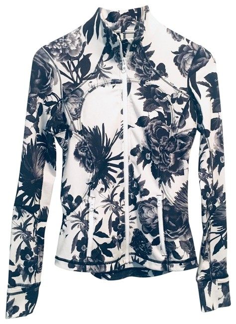 Item - Black & White Forme Floral Full Zip Activewear Outerwear Size 4 (S)