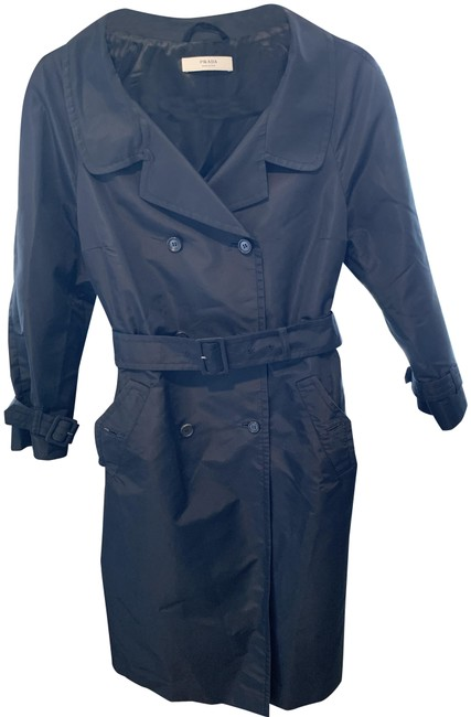 Item - Black Double Breasted Style Belted Waist & Sleeves 3/4 Sleeves Coat Size 8 (M)