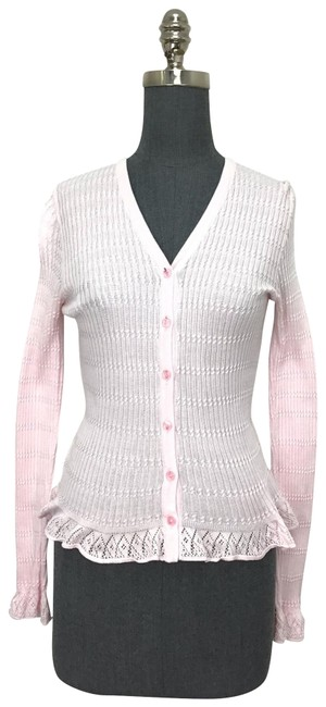 Item - Pale Pink Cotton Ribbed Cardigan Size 6 (S)