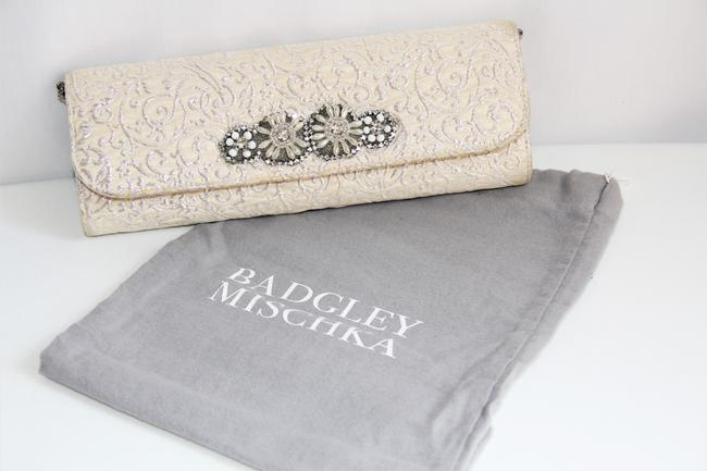 Item - Silver and Beaded Cream Satin Clutch