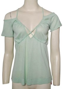 Miss Sixty Cold Shoulder Strappy Empire Waist Sleeve T Shirt Green
