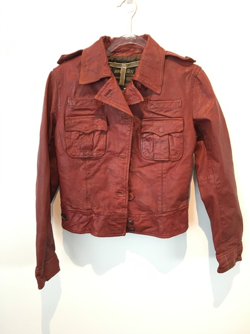 Item - Red Distressed Leather Jacket Size 8 (M)