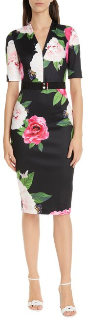Item - Black with Flowers London Gilanno Magnificent Body Con 2(Us 4-6) Mid-length Formal Dress Size 4 (S)