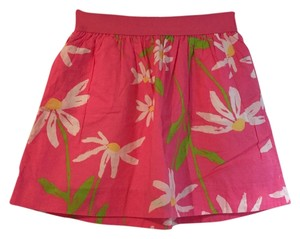 Lilly Pulitzer Flowers Floral Mini Skirt Pink, green and white
