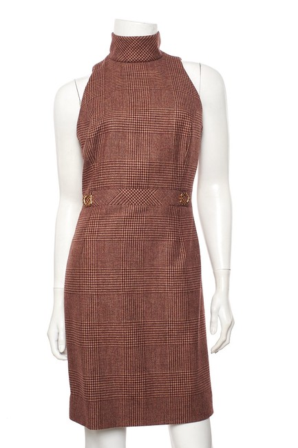 Item - Burgundy & Tan Houndstooth 38 Mid-length Work/Office Dress Size 6 (S)