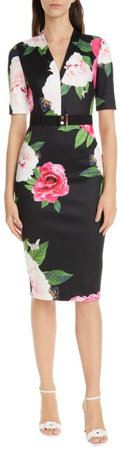 Item - Black with Flowers London Gilanno Magnificent Body-con (Us 14) Mid-length Formal Dress Size 14 (L)